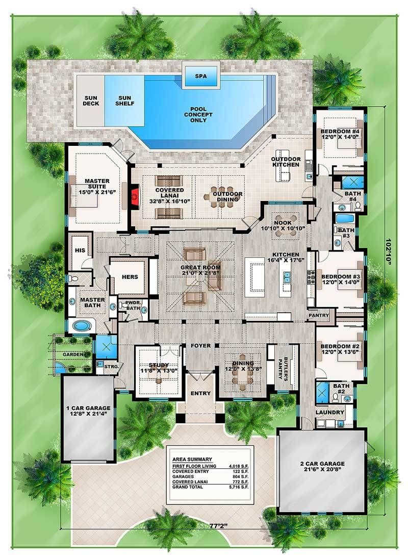 Plan 86038bw Spacious Florida House Plan Florida House Plans House Blueprints New House Plans