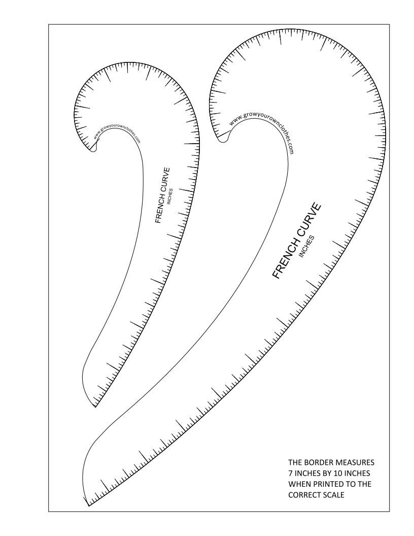 Printable pdfs of Imperial and Metric French curves and hip curves ...