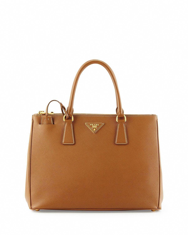 79e1f3d53651f Prada Saffiano Small Double-Handle Tote Bag