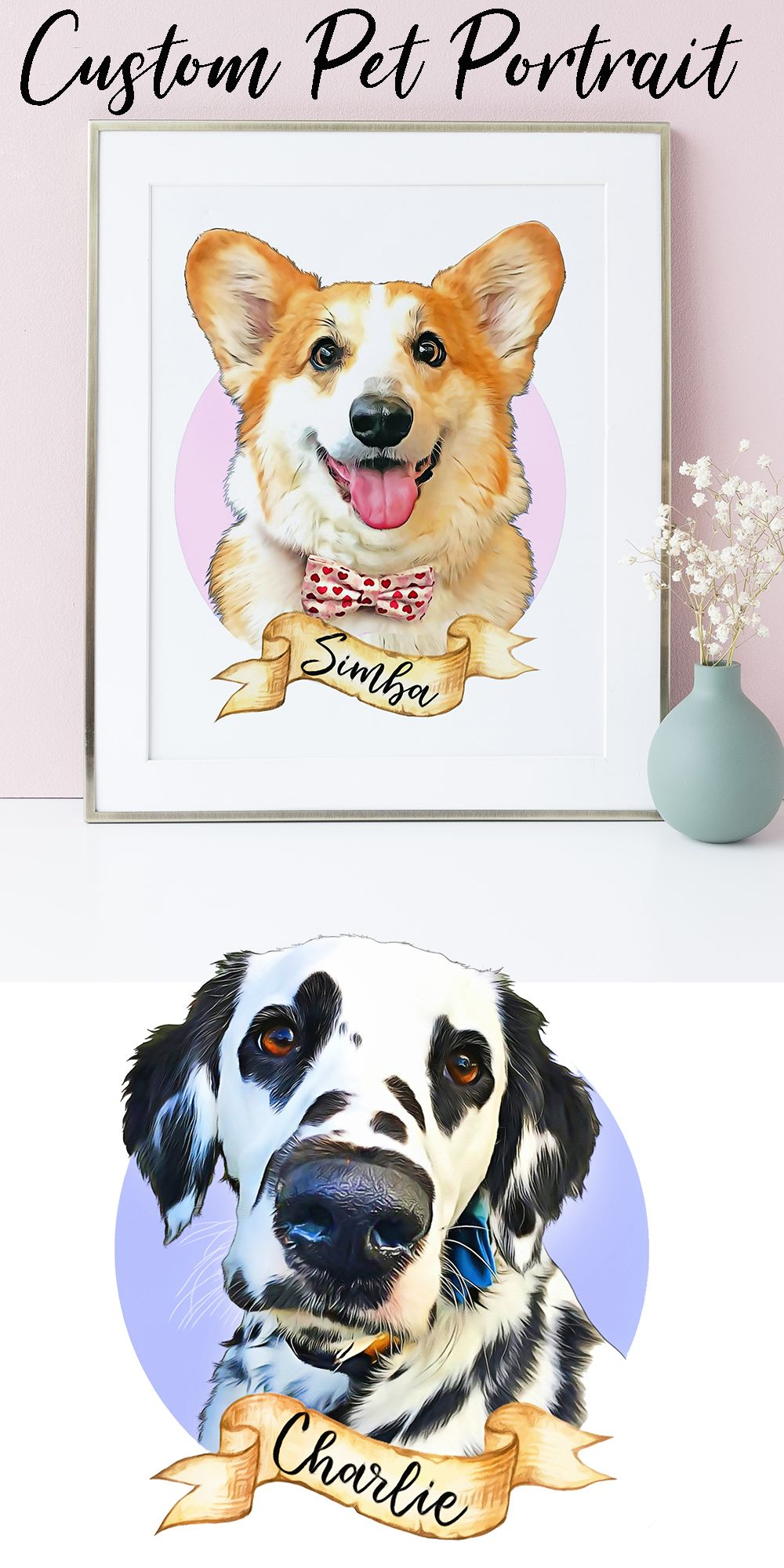 Looking For A Birthday Gift Your Dog Lover Friends And Family This Custom Portrait Will Be Her Joy To Behold Affordable Beautiful Unique Easy