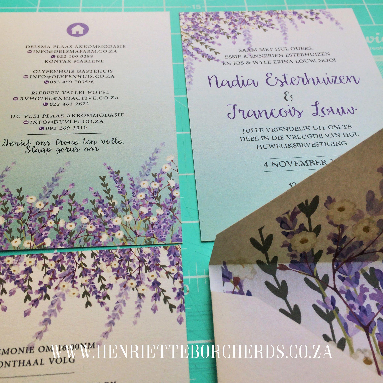 Floral Design Wedding Invitation Lavender Tailored Envelope