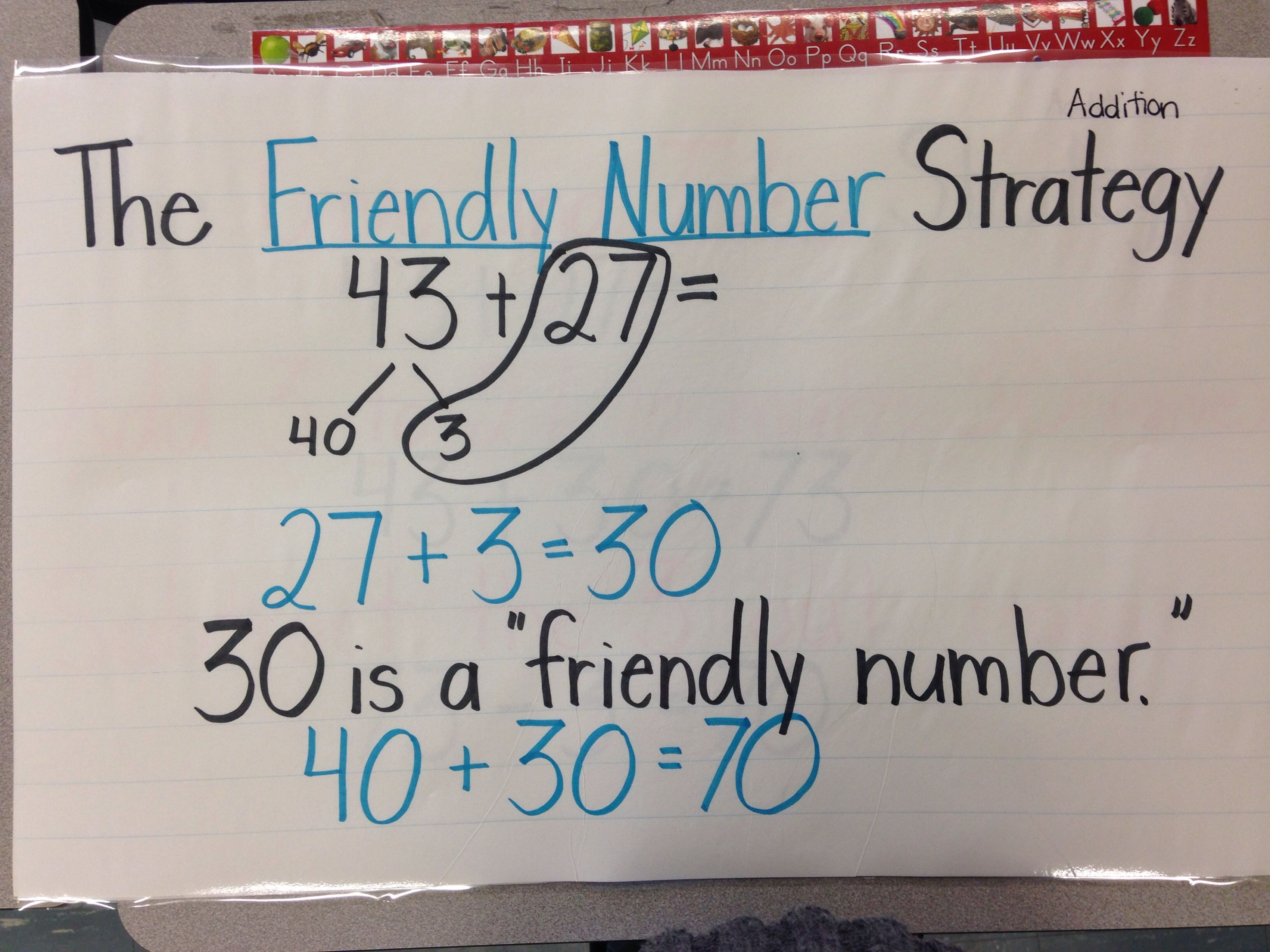 Friendly Number Strategy For Addition Third Grade Math Math Strategies Simple Math Adding digit numbers crossing tens