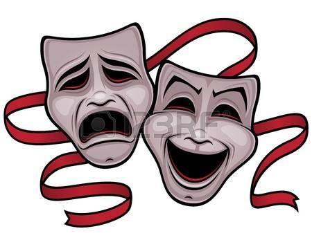 Ilustración De Las Máscaras De Teatro De Comedia Y La Tragedia Con Una Cinta Roja Mascaras Teatrales Tatuaje De Teatro Mascaras Teatro