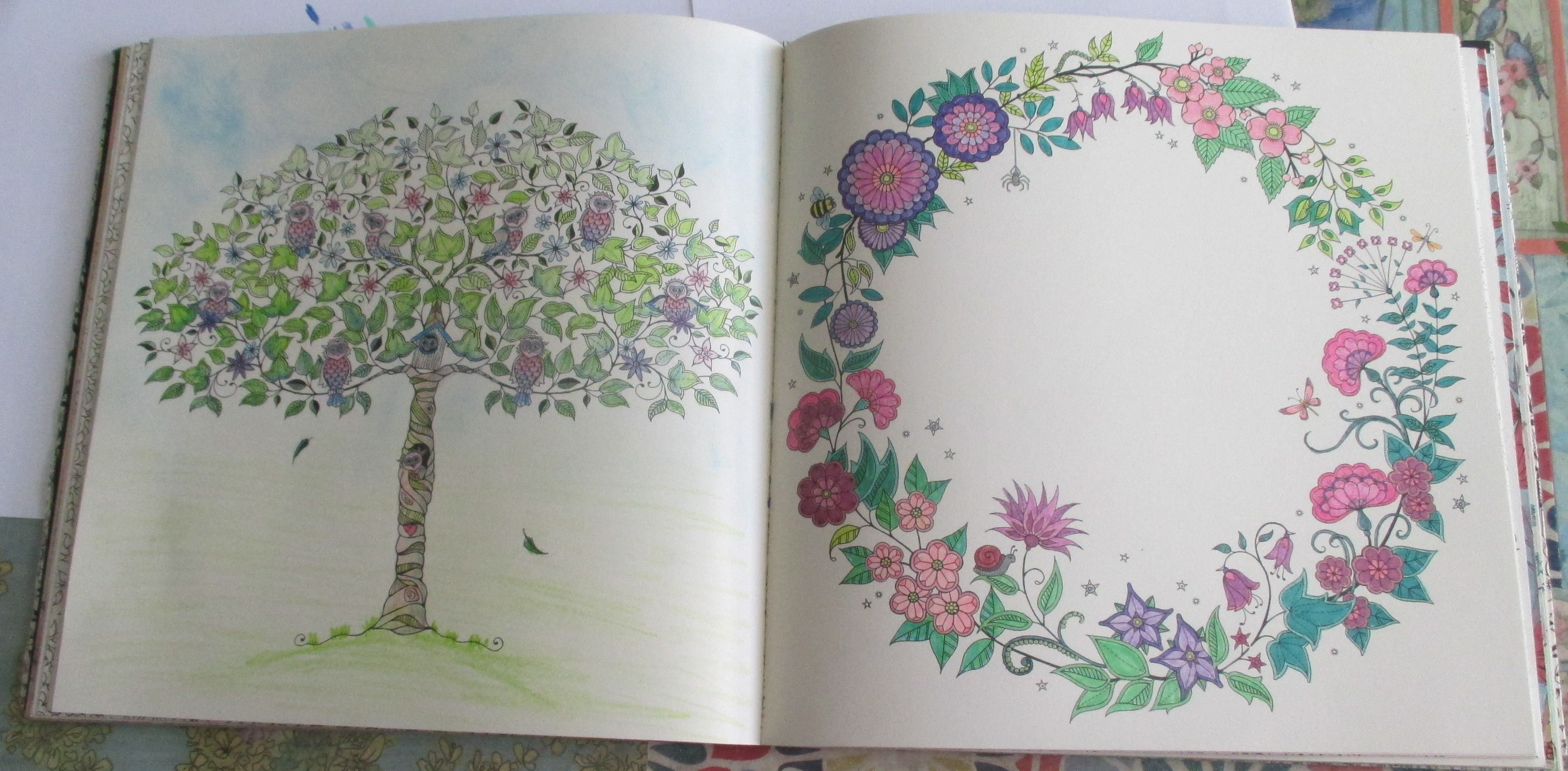 Johanna Basford Secret Garden Tree With Owls Koh I Noor Woodless Colored Pencils Five Pencil Challenge Wreath Page Sergeant Markers And Gel