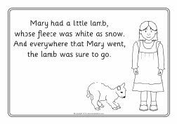Mary Had A Little Lamb Colouring Sheets Sb8213 Sparklebox