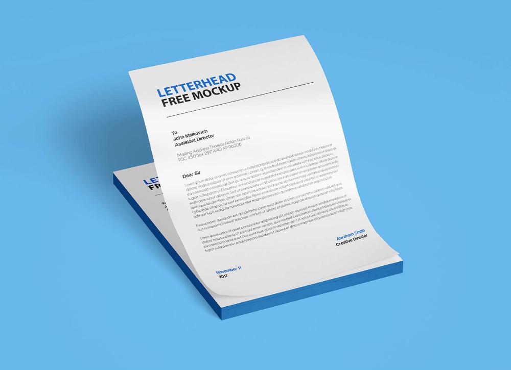 Free A4 Size Letterhead Paper Mockup PSD Set Good