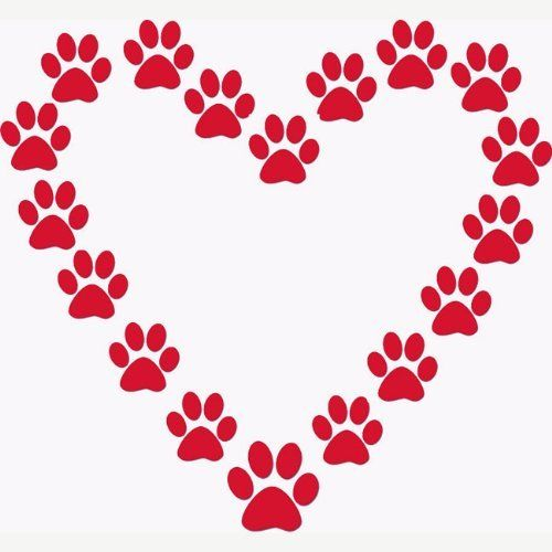 Dog Paw Print Heart Dog Lover Red Vinyl Wall Decal By Decal Girls 12 99 Approx 22 X 20 Inches Easy To Apply Quality Dog Paw Print Paw Print Heart Stencil