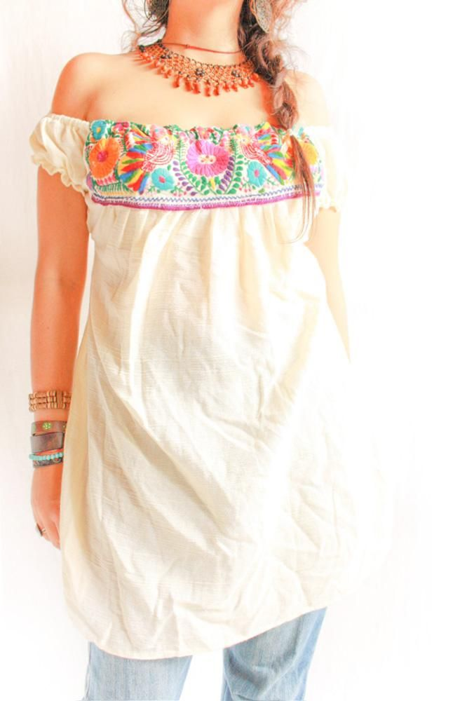 Palomas off shoulder Mexican embroidered tunic