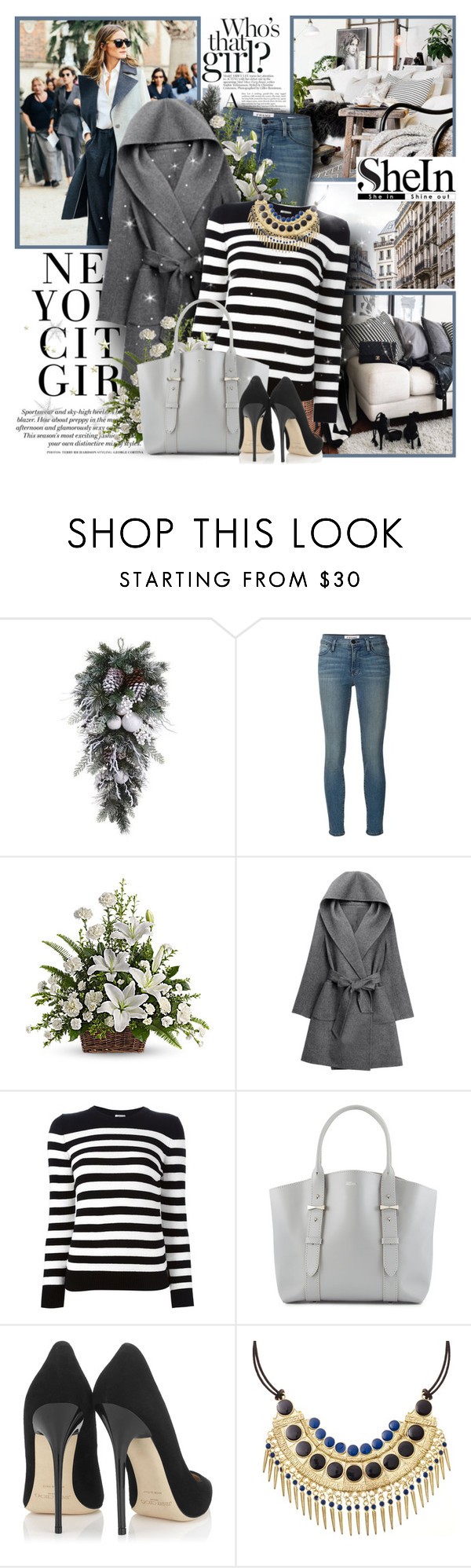 """""""Who's that girl?"""" by mlucyw ❤ liked on Polyvore featuring H&M, Frame Denim, WithChic, Yves Saint Laurent, Alexander McQueen and Jimmy Choo"""