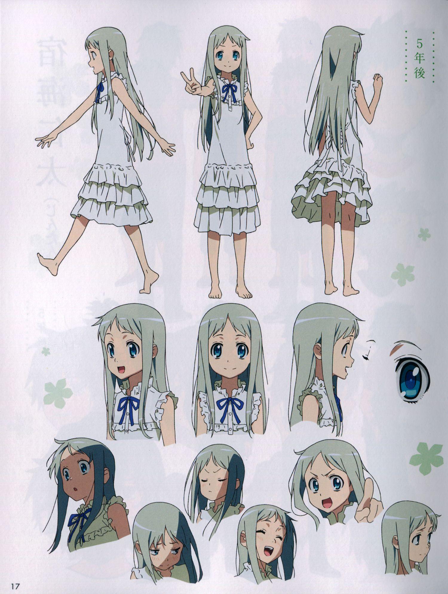 anohana character design Menma teenage キャラクターデザイン, 田中将賀