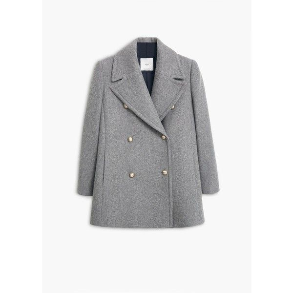 MANGO Double-Breasted Coat ($190) ❤ liked on Polyvore featuring outerwear, coats, long sleeve coat, mango coat and double-breasted coat