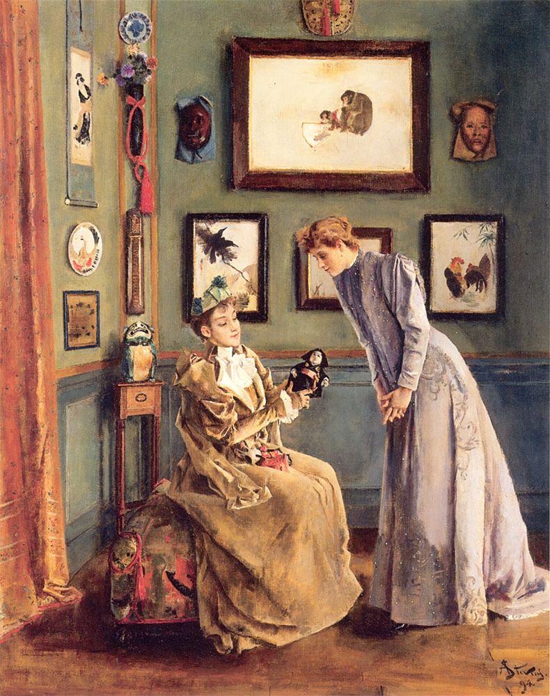 Femme à la poupee japonaise by Alfred Stevens, 1894.