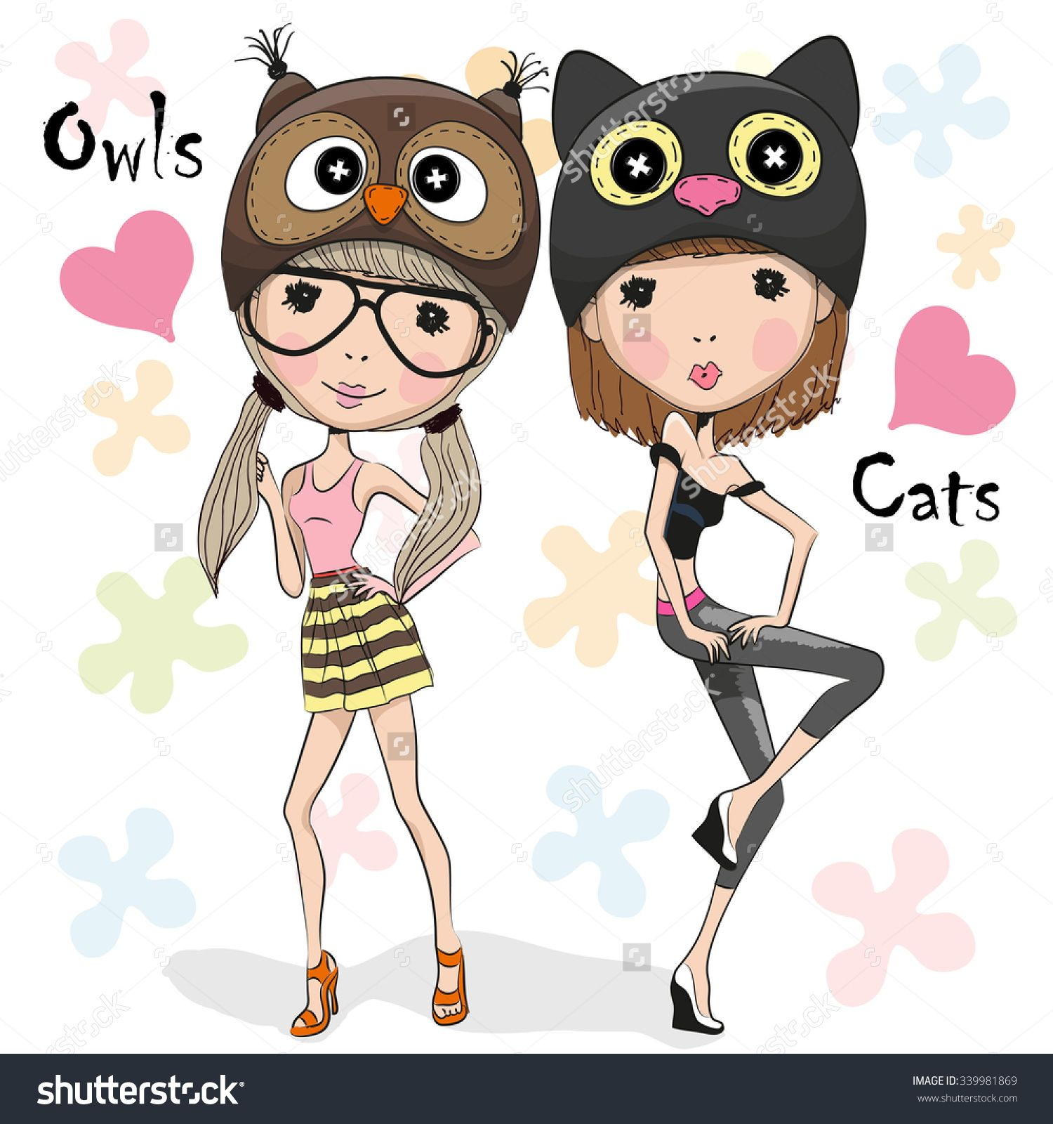 two cute cartoon girls in a owl and cat hat | cute 5 | pinterest