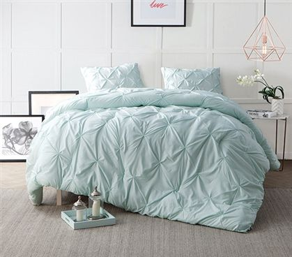 Hint Of Mint Pin Tuck Twin Xl Comforter Bed Comforter