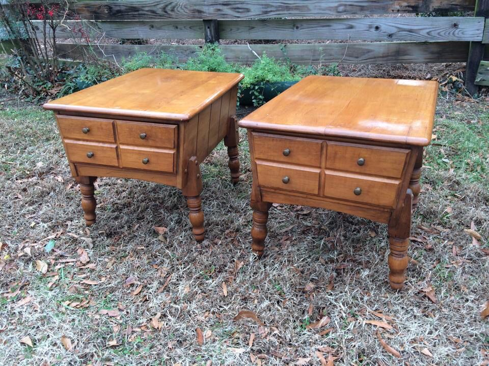 vintage ethan allen maple end tables
