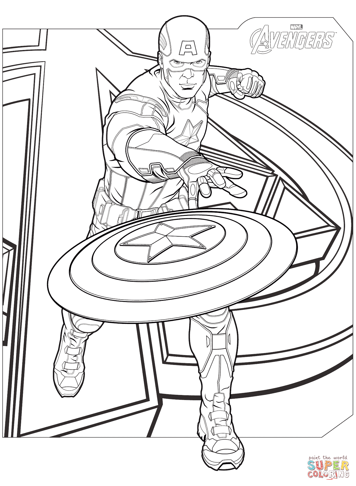 Free Captain America Coloring Pages With Avengers Captain America ...