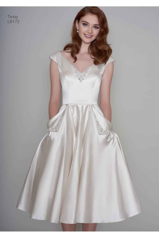 Tessa Satin Tea Length Vintage 1950s Inspired Short Wedding Dress With Pockets Tea Length Wedding Dress Wedding Dress With Pockets Short Wedding Dress