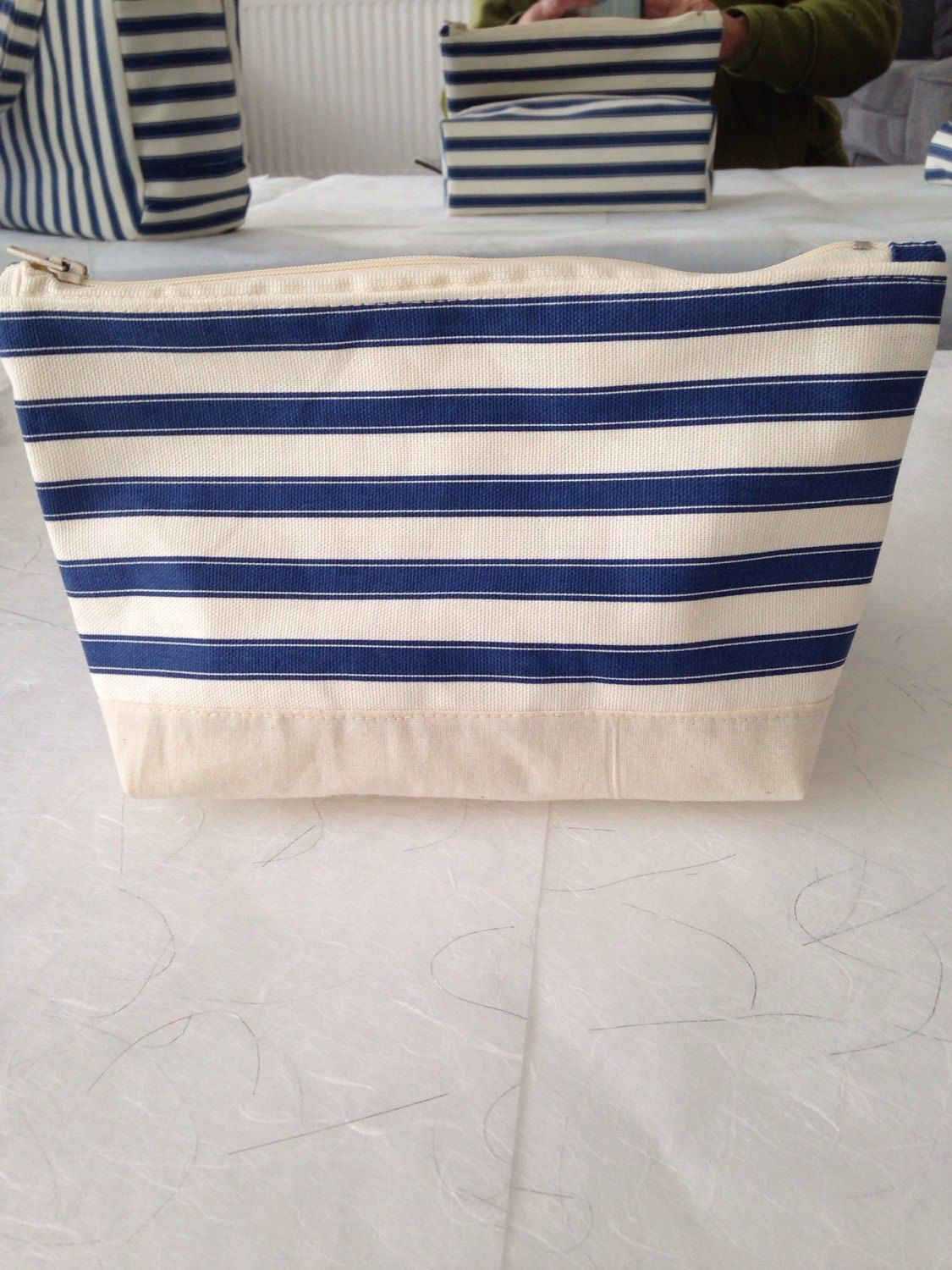 Cream Blue Strip Zip Top Pouch by craftmadclaire on Etsy