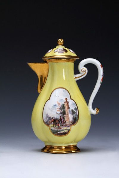 A Meissen yellow–ground hot water jug and cover
