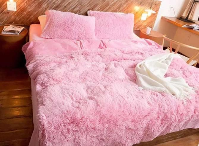 Full Size Solid Pink Princess Style Luxury 4 Piece Fluffy Bedding
