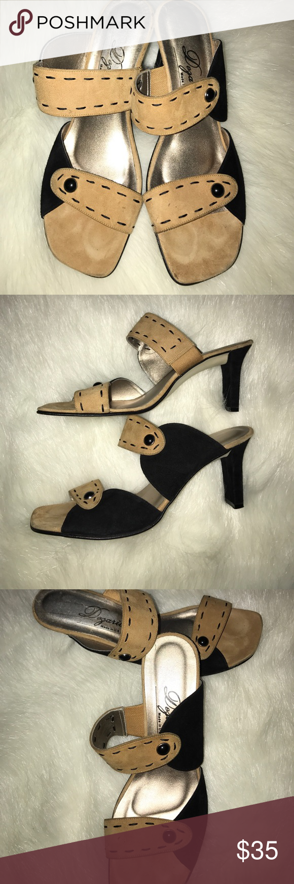 88ffe78c21a Women Dezario Black and Tan Suede Sandals Worn Black and Tan open Toe Suede  Sandals that