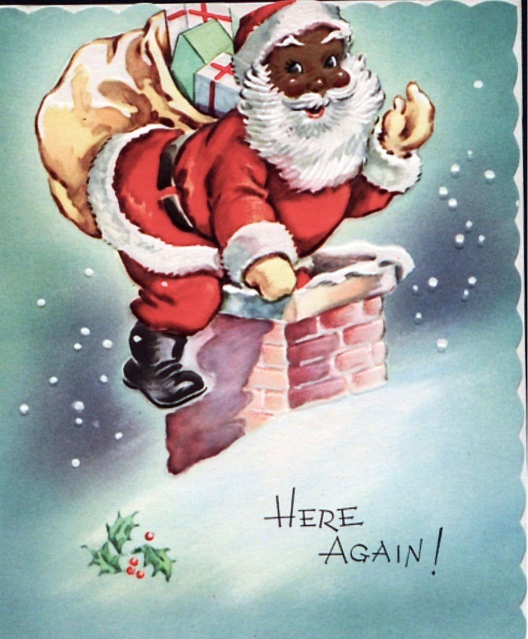 Santa Christmas Card Cj 30 Santa Christmas Cards Retro Christmas Vintage Christmas Cards