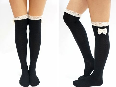 c2de0d220764a Find this Pin and more on Clothes, shoes, and accessories . Lace Bow Side Knee  High Lace Socks - Black from Sandysshop