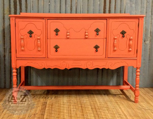 Coral Painted Buffet  Websters Chalk Paint Powder And Benjamin Mooreu0027s  Orange Nectar