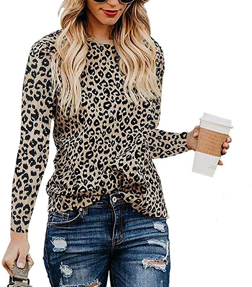Vermers Womens Leopard Print Tops Casual Long Sleeve Round Neck T Shirts Blouse Cute Basic Tees S Leopa Leopard Print Top Casual Shirt Women Tunic Tops Casual [ 1000 x 877 Pixel ]