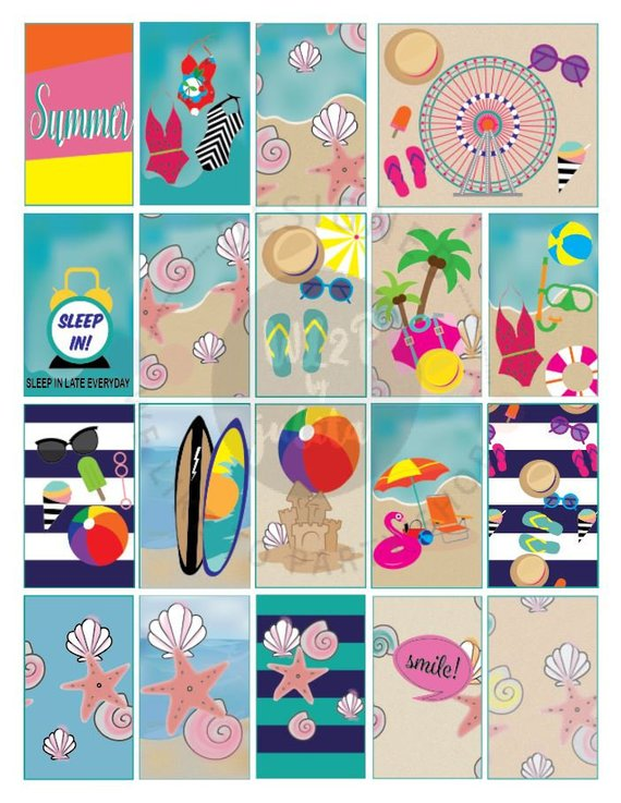 Classic Summer Fun Full Box Printable Sticker Kit for