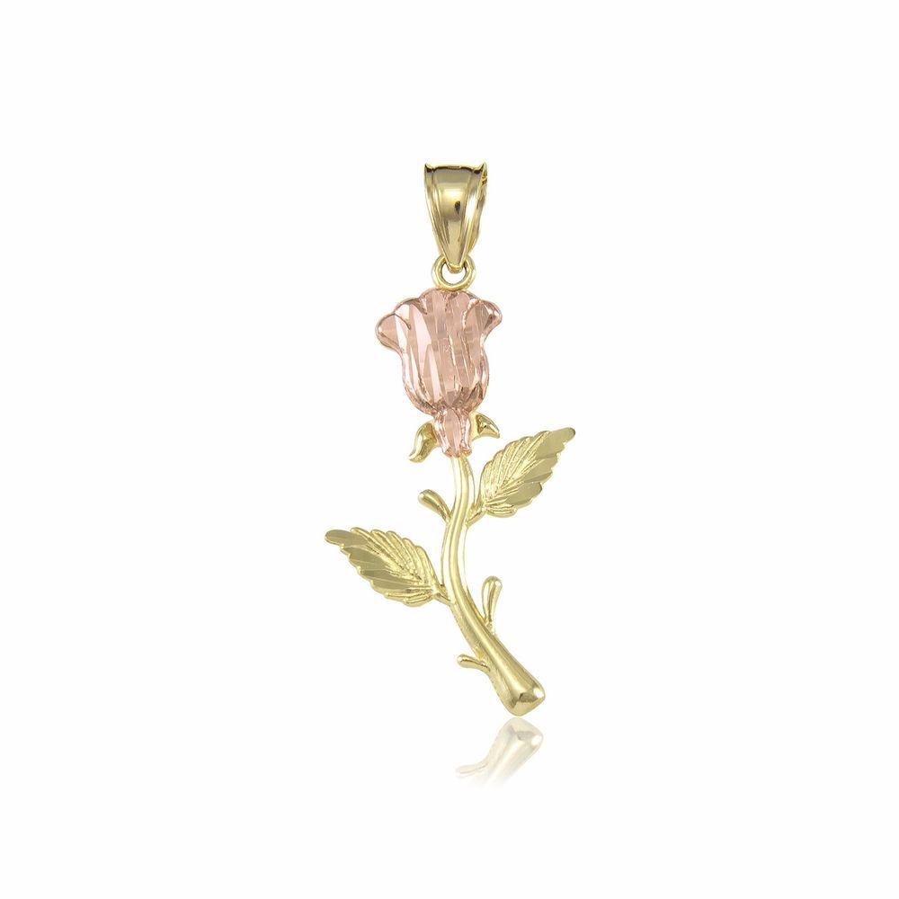 K solid yellow gold rose pendant flower diamond cut necklace