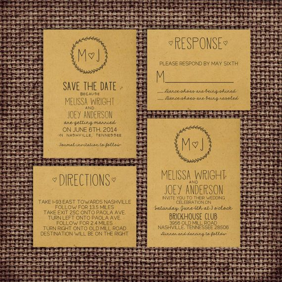 Wedding Invitation Suite Set - Personalized, Digital, Printable, Custom, DIY - Rustic, KRAFT Paper, Sketches, DEPOSIT (Wedding Design #22)