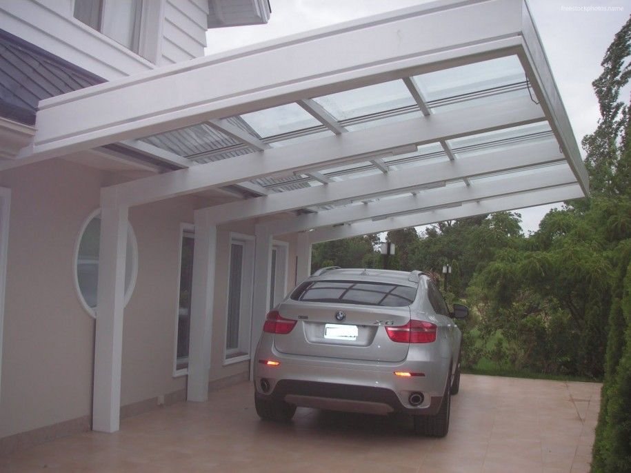 Architecture Photo Mini Car Shelter Place For Parking With Canopy That Built Beside The House With Glass Sideways Roof And White Elegant Car Carport Design Al