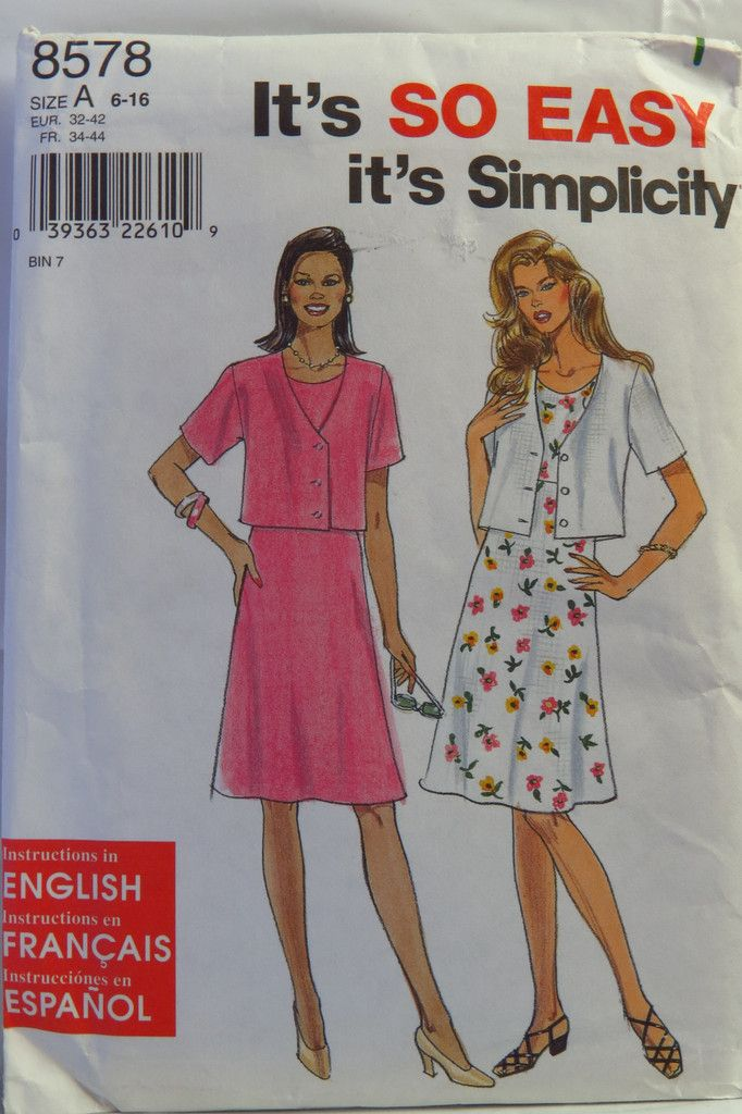 Simplicity 8578 Misses\'/Miss Petite Dress and Jacket