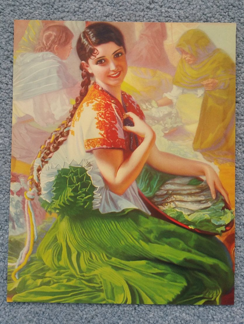 Mexican Calendar Girl Art : Original vintage lithograph mexican calendar pin up print