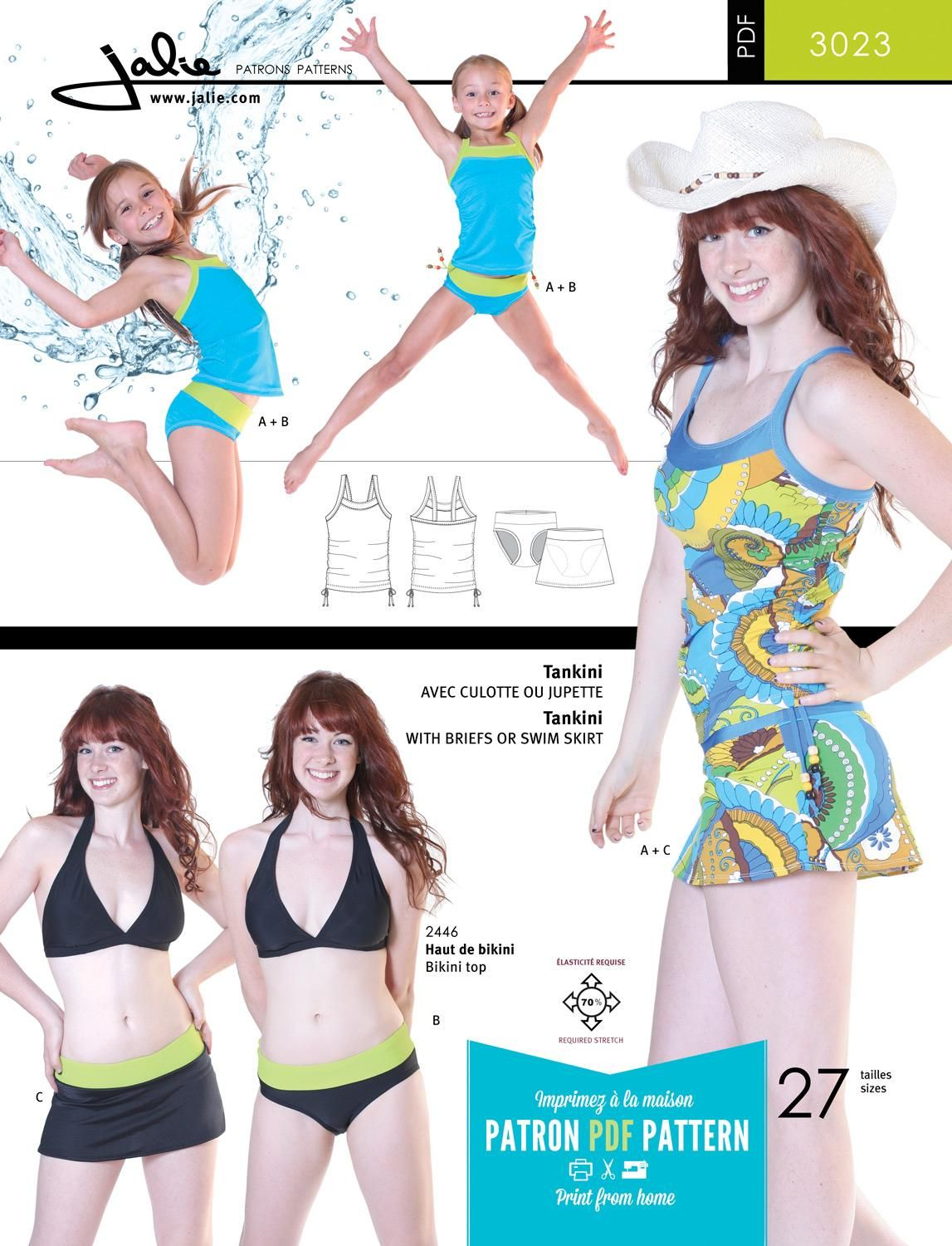Jalie 3023 - Tankini / Skirtini PDF Pattern | Projects to Try ...