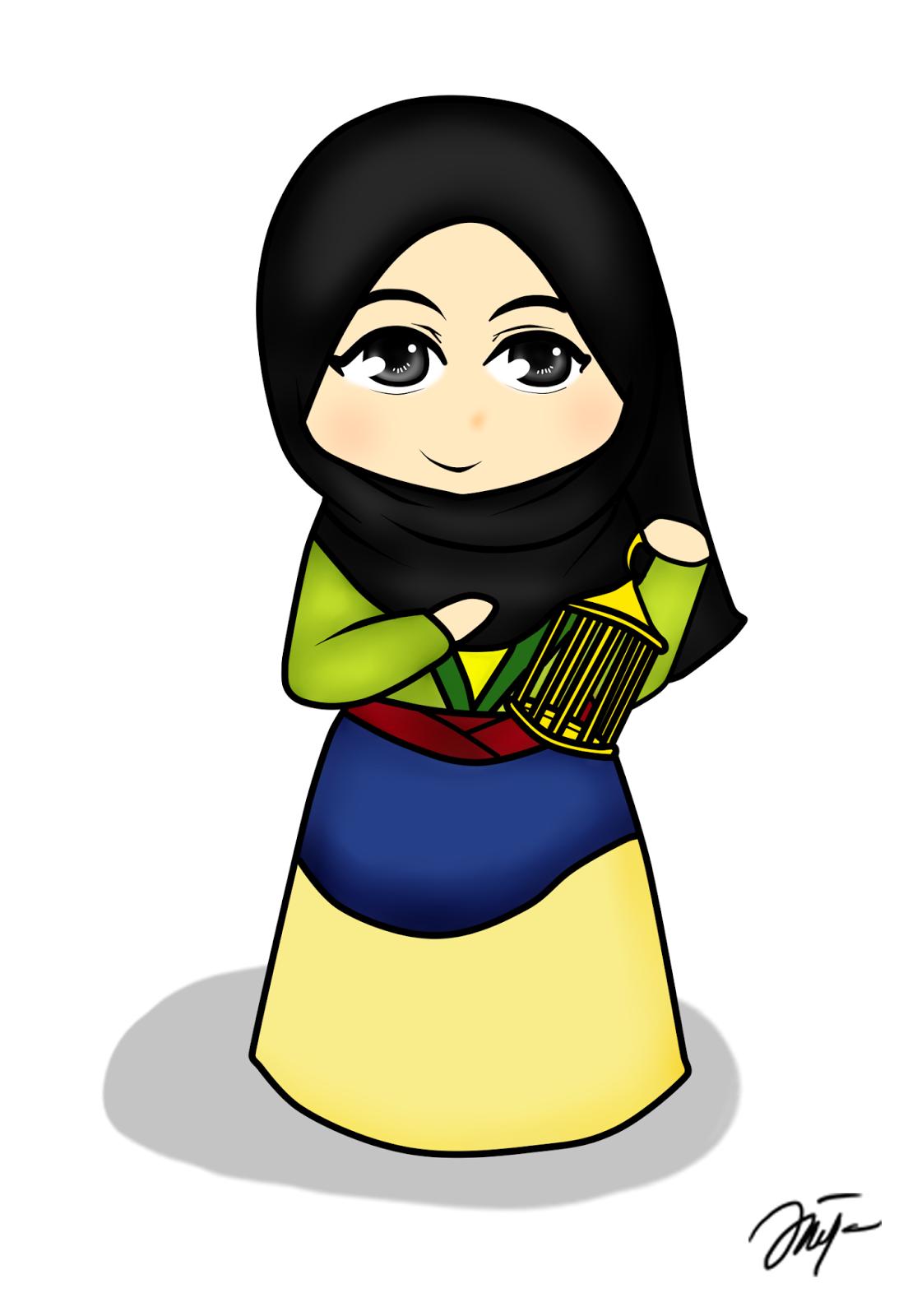 Diya Hanun Chibi doodle Disney Princess Hijab Version