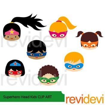 Superhero Head Kids clip art | Crafts, Activities and Minis