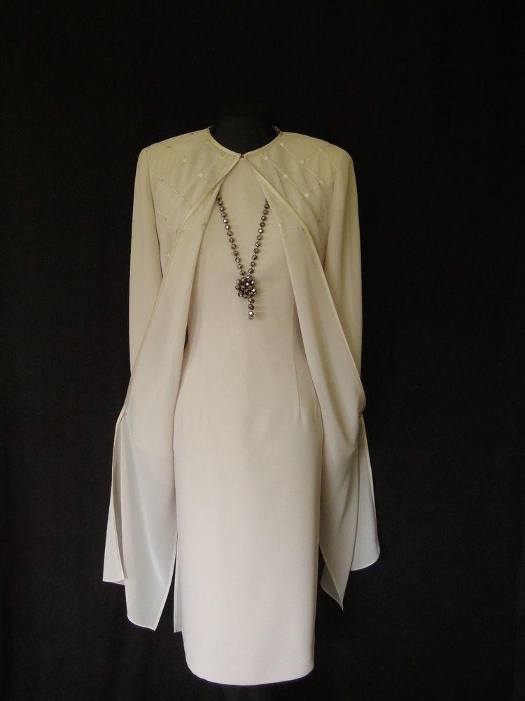 Condici 3 Piece Beige Lined Short Sleeved Ed Dress Long Sheer