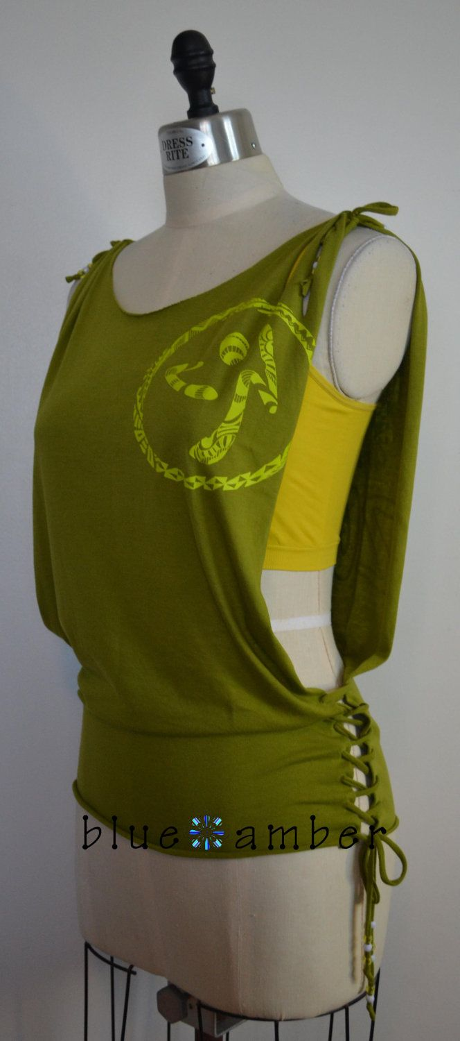 Open Side Lace Up Beaded Tank - Cut Slashed Refashioned Upcycled Peace Love  Tribal Print Dance Fitness T Shirt.  25.00 df04bb6708