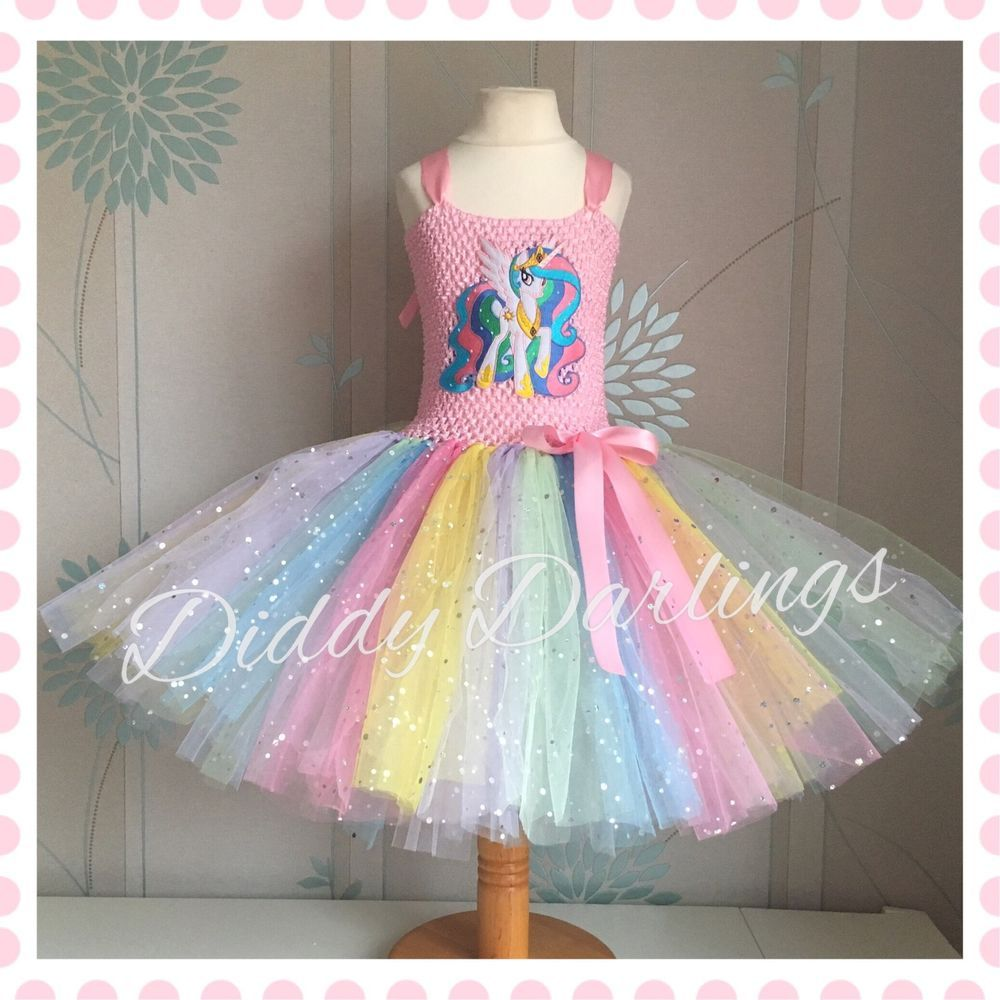 Princess Celestia Tutu Dress Sparkly My Little Pony Unicorn Costume Party  Horse  DiddyDarlings  CasualFormalParty 9212e1f98c87