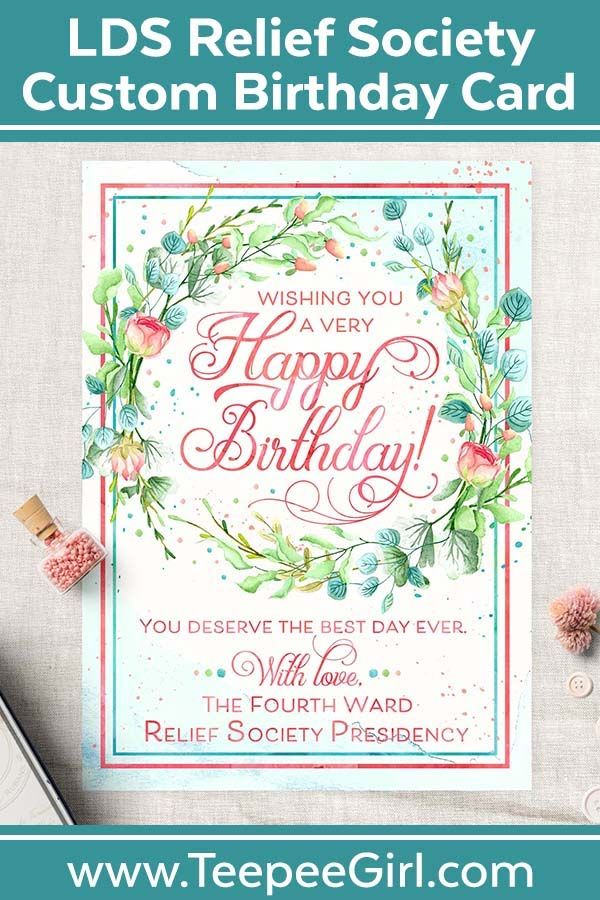 Relief Society Custom Birthday Card | LDS Relief Society Wreath ...