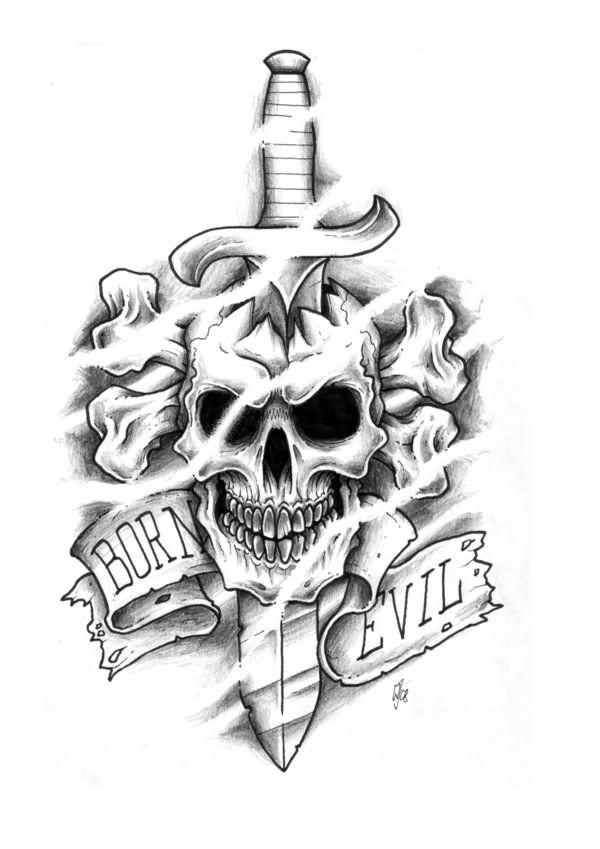 8 Dagger Tattoo Designs Ideas And Flash Skull Tattoo Design Evil Skull Tattoo Evil Tattoos