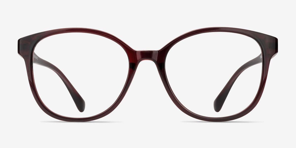 69674b540f0 The Beat Burgundy Plastic Eyeglasses from EyeBuyDirect. Exceptional style