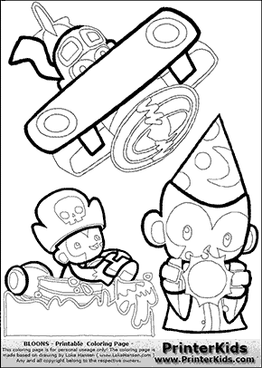 Bloons TD5 - Monkey Tower Group #3 - Coloring Page