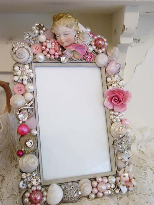 cool idea. buy a cheap frame and gussy it up with beads, old jewelry ...