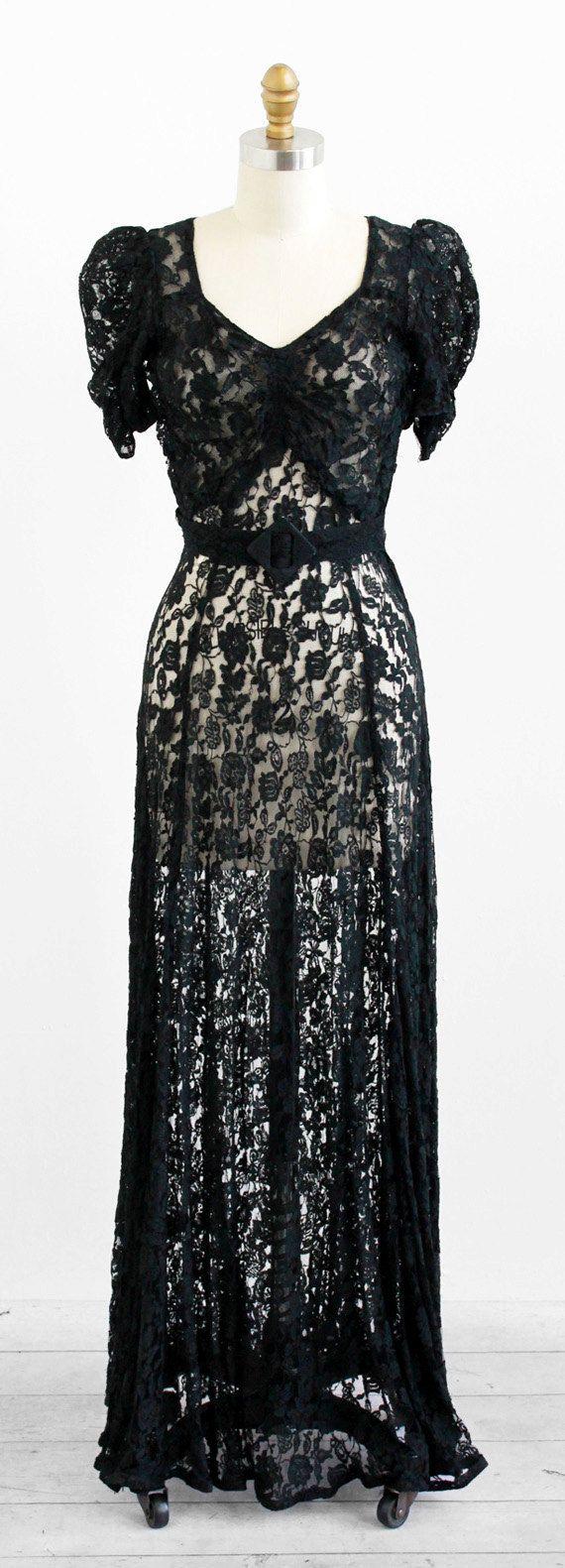 vintage s dress s evening gown Black Lace Floorlength