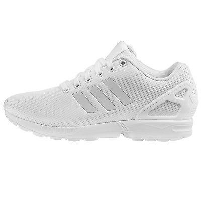 3110459f778f2 Adidas ZX Flux Mens S79093 White Mesh Running Shoes Athletic Sneakers Size  10