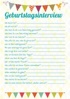 geburtstagsinterview (kamikazefliege.de) | kiga | Pinterest ...