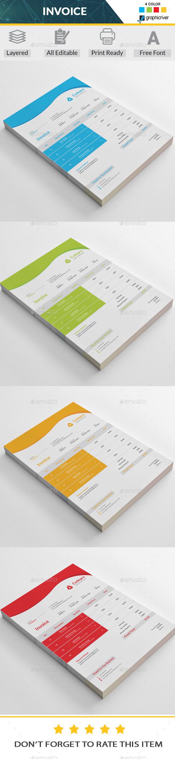 Invoice Template Vector EPS, AI Illustrator | Proposal & Invoice ...